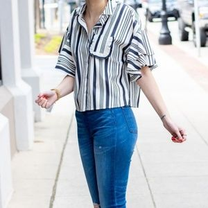 A New Day Striped Ruffle Button Up Top